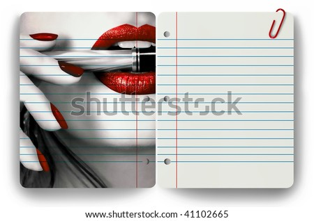 Woman holding pen in her mouth and clear notepad