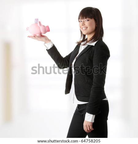 Woman Holding Piggy Bank, isolated on white