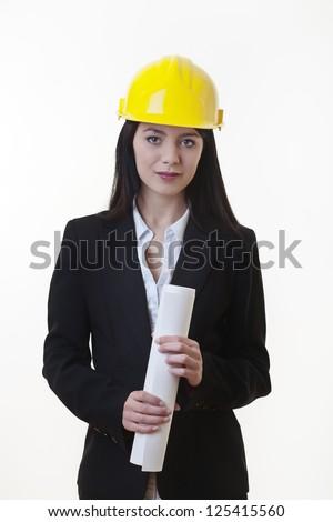 woman holding plans of woman holding plans of some sort wearing a hard hat