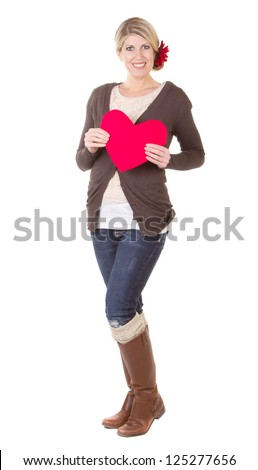 woman holding red heart full length isolated on white