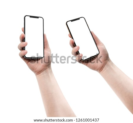 Woman holding smartphone with blank screen.   #1261001437