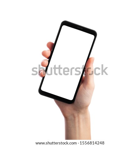 Photo of  Woman holding smartphone with empty screen isolated on white background. Female hands with phone, space for text