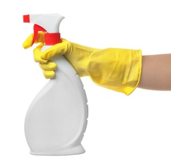 Woman holding spray bottle of detergent, isolated on white
