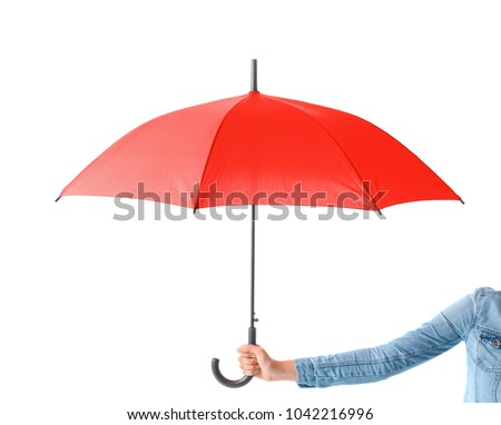 Woman holding stylish red umbrella on white background #1042216996
