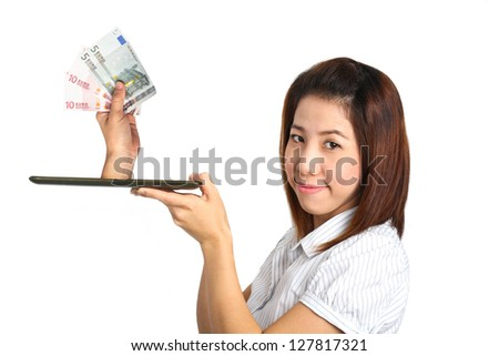 Woman Holding tablet and Hand holding Euro money