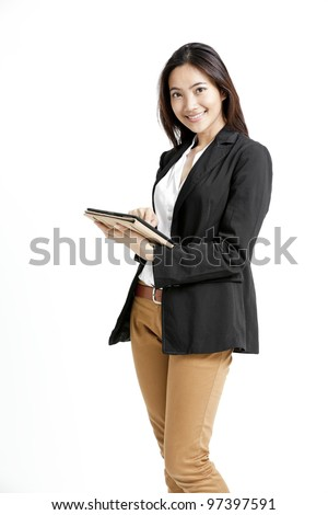 Woman holding tablet computer isolated on white background.