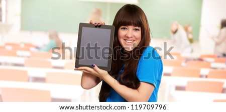 Woman Holding Tablet, Indoor