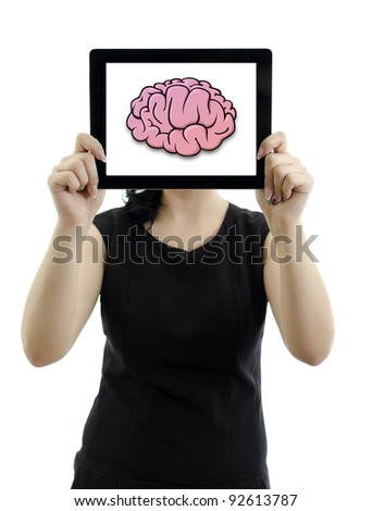 Woman holding tablet pc. Brain concept. Isolated on white.