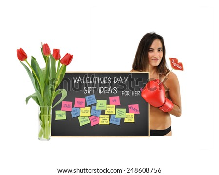 Woman holding te quiero lips cookie with Backboard w/ valentine day gift for her / post it notes (box of chocolate, jewelry, spa, dinner, movie, money, manicure, pedicure, roses, & more  Stockfoto ©