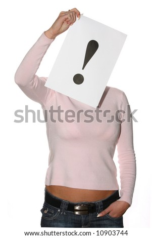 Woman holding the exclamation mark