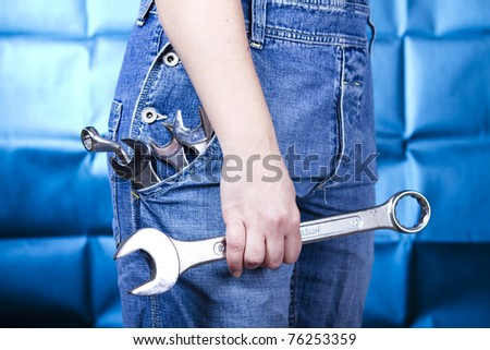 Woman holding tools