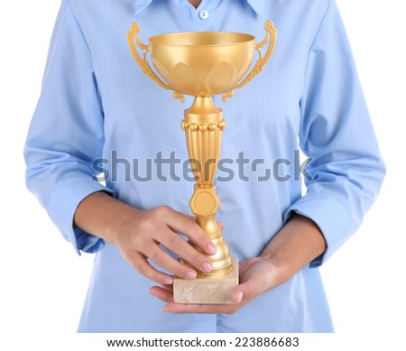 Woman holding trophy cup isolated on white #223886683