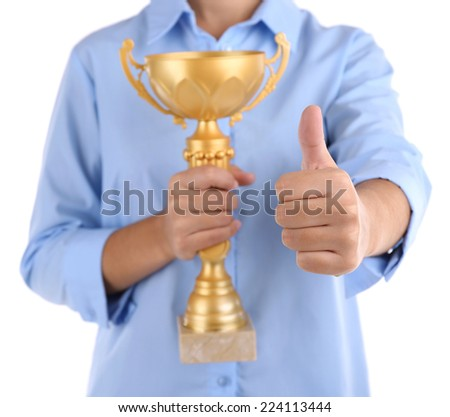 Woman holding trophy cup isolated on white #224113444