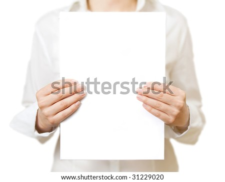 woman holding white paper isolated on white
