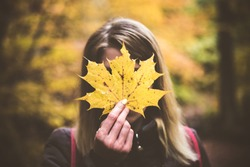Woman holding yellow leaf,autumn background