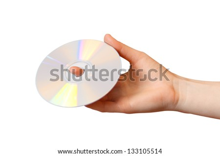 Woman holds a CD on a white background