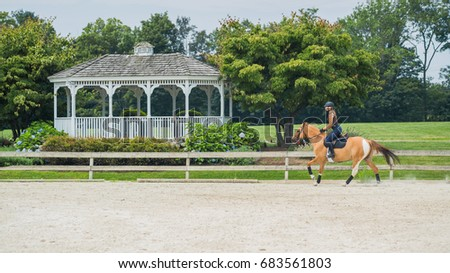 woman horseback riding beautiful brown mare and training in sandy outdoors manege at horse ranch.