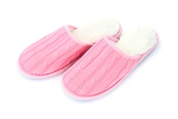 Woman house slippers isolated on white background.
