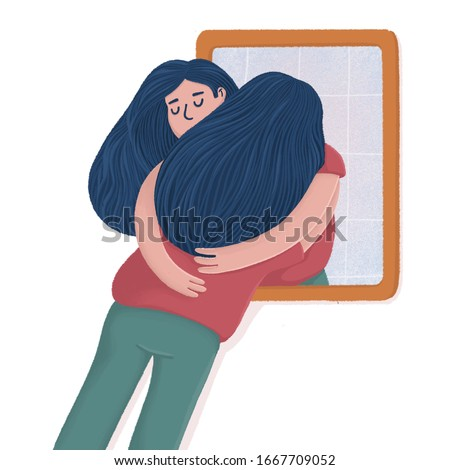 Woman hugging with her own reflection in the mirror, self-acceptance, self care concept, flat style raster illustration. Young woman hugging, embracing her reflection, metaphor of unconditional self a