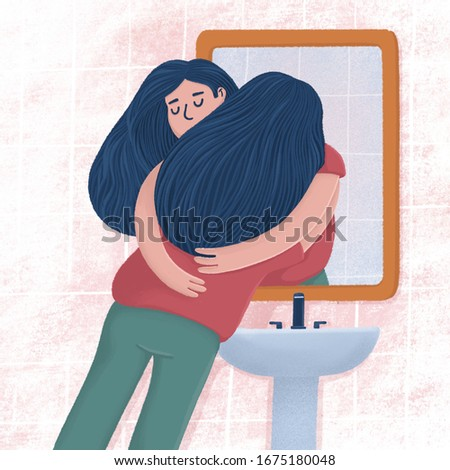 Woman hugging with her reflection in bathroom mirror, self-acceptance, self care concept, raster illustration. Young woman hugging, embracing her reflection, metaphor of unconditional self acceptance Foto stock ©