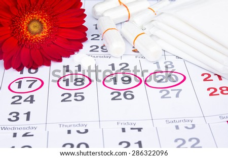 Woman hygiene protection, menstruation calendar with cotton tampons ,Sanitary pads, woman critical days