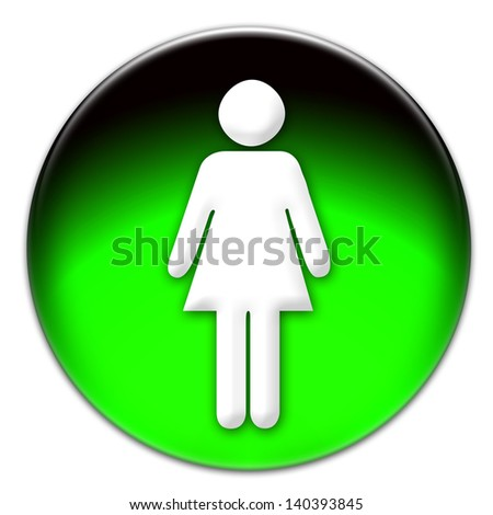 Woman icon on a green glassy button isolated over white background