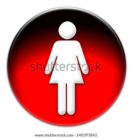 Woman icon on a red glassy button isolated over white background