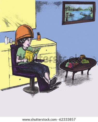 Woman in a beauty parlor sits under hair dryer reading a magazine.  A brown coffee table, yellow cabinets and landscape painting in the background.