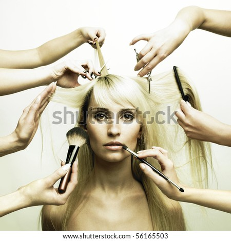 Woman in a beauty salon. Conceptual photo