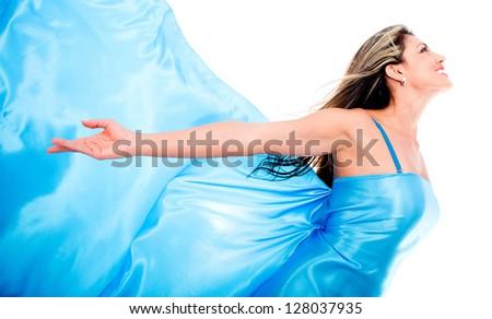 девушка в синем платье раком фото