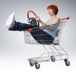 Woman in a cart with wheel