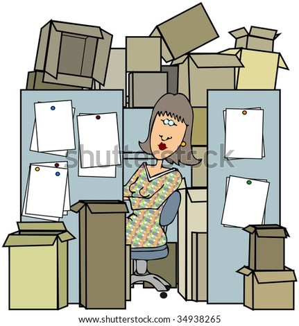 Woman In A Cluttered Cubicle