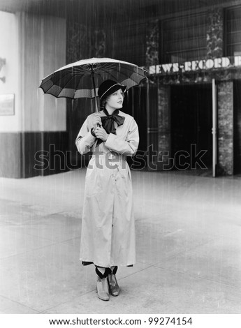 Woman in a raincoat and umbrella