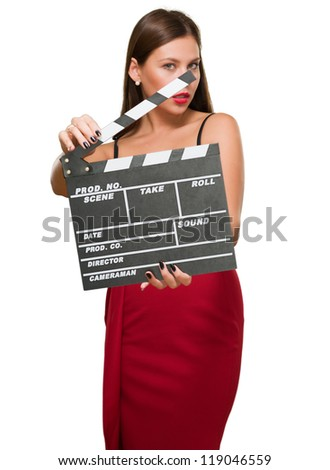Woman In A Red Dress Holding Clapper Board against a white background