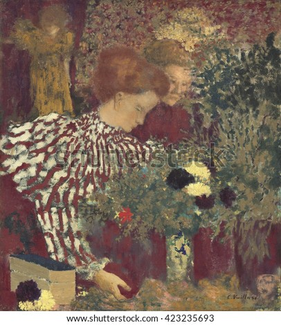 Woman in a Striped Dress, by Edouard Vuillard, 1895, French painting, oil on canvas. Vuillard painted this work for Thad_e Natanson, publisher of the Avant-garde journal 'La Revue Blanche'