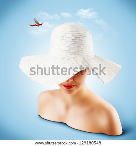 woman in a white wicker hat