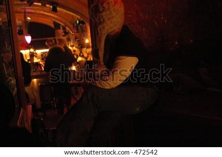 Woman in bar in Amsterdam