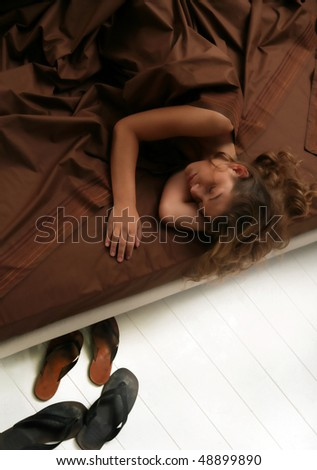 woman in bed - stock photo