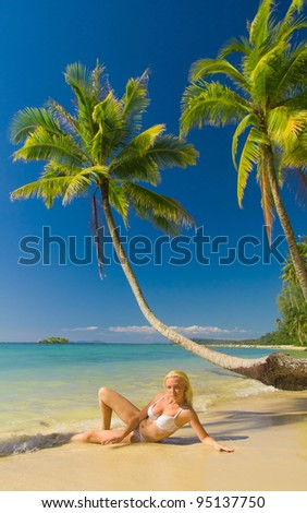 Woman In Bikini In a Coconut Grove