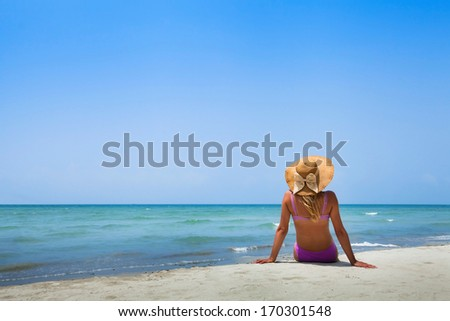 woman in bikini on the beach