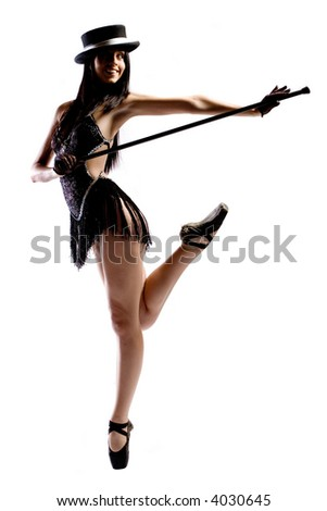 Woman in black ballet shoes, cane, hat and costume isolated on white