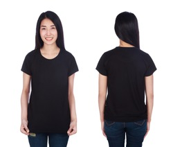 woman in black t-shirt isolated on a white background