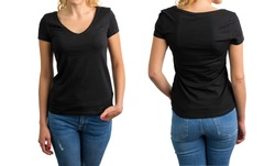 Woman in black V-neck T-shirt, front and back