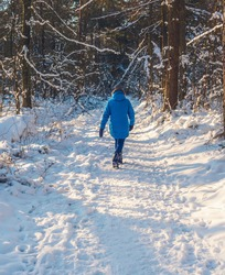 Woman in blue coat and woolen cap walks on path in snowy forest. Rear view.
