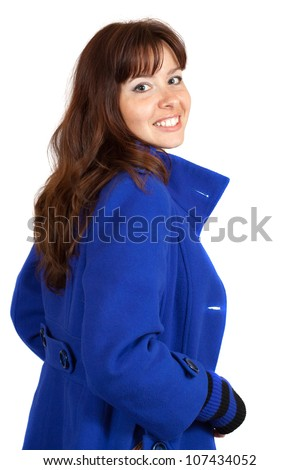 woman in blue coat on white background