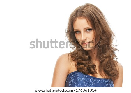 f9ab75cca Woman in blue dress, on white background. #176361014 · Cute young woman in  navy ...