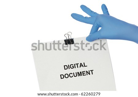 Woman in blue gloves holding digital document in the hand