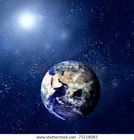 Woman in blue sleeping on the planet in space.