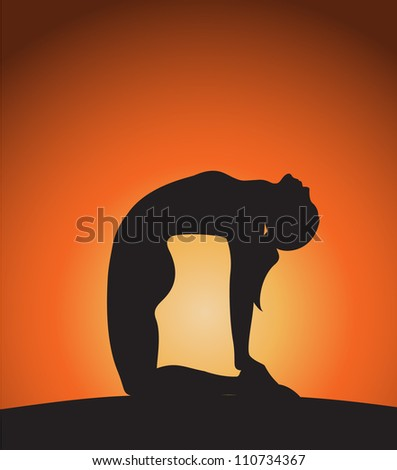 Woman in camel pose.