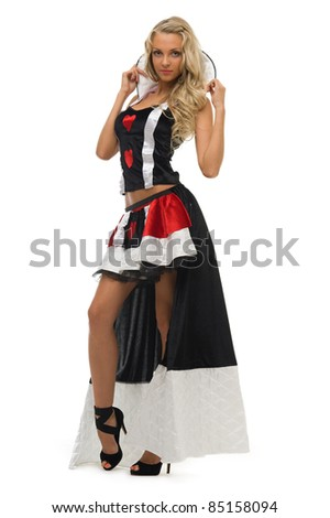woman in carnival costume.  Card queen shape. Isolated image